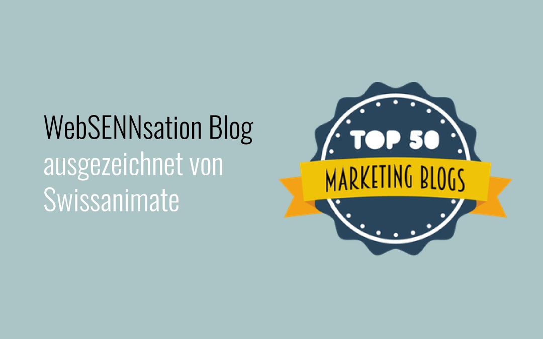 WebSENNsation Blog ausgezeichnet von Swissanimate