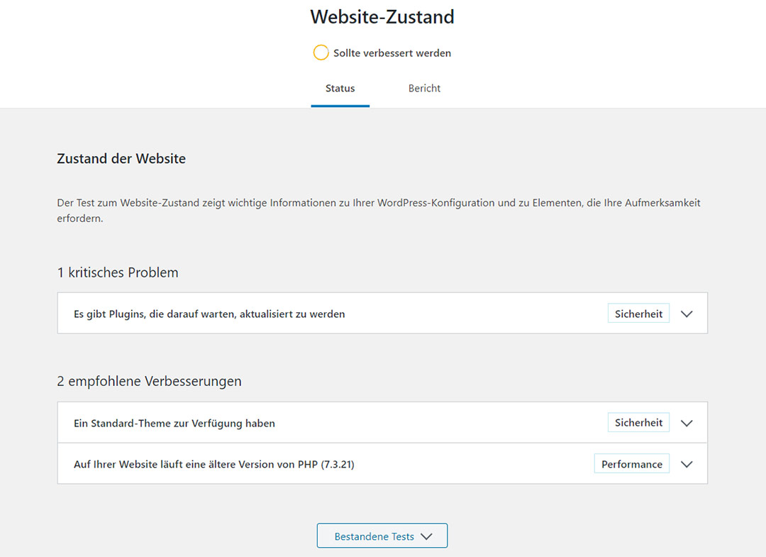Informationen zum Website Zustand im Dashboard
