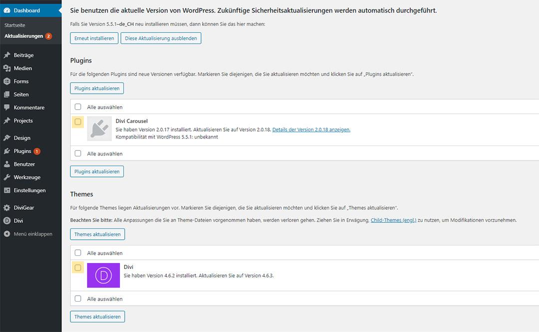 Aktualisierung von Plugins im Dashboard