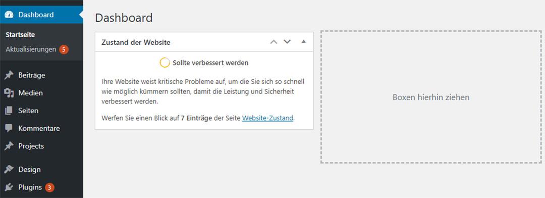 Hinweise Website Zustand und Aktualisierungen im Dashboard