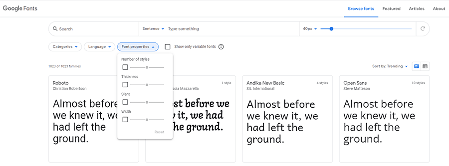 Google Fonts - Font Properties
